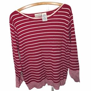 Red and White Striped Long Sleeve Sweater